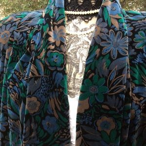Vintage Floral Cotton Velvet Swing Layer Coat 12
